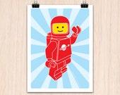 "Lego 9x12"" Hello SpaceBoy Red (Color Print)"