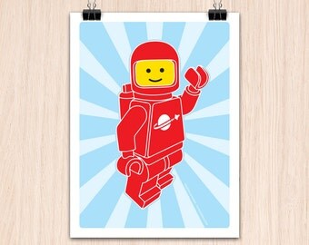 "Lego 9x12"" Hello SpaceBoy Red (Color Print)"