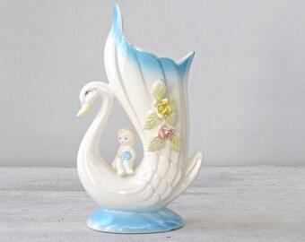 Ceramic Swan Vase, White and Blue Retro figurine Vase, Floral Vase, Retro Collectible Ceramic, Shabby Cottage chic, Grandma Shiny Kitsch