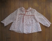Vintage PINK STRAWBERRY BLOUSE Hipster Kid Baby Toddler | Frilly + Cute (24 Months)