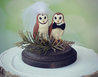 Owls wedding cake topper-Fall wedding-barn wedding-Barn owls cake topper-Rustic cake topper-Rustic wedding-OWLS-snow owls