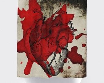 Halloween Shower Curtain: Bloody Heart   Made in the USA   12 Hole Fabric Bathroom Decor