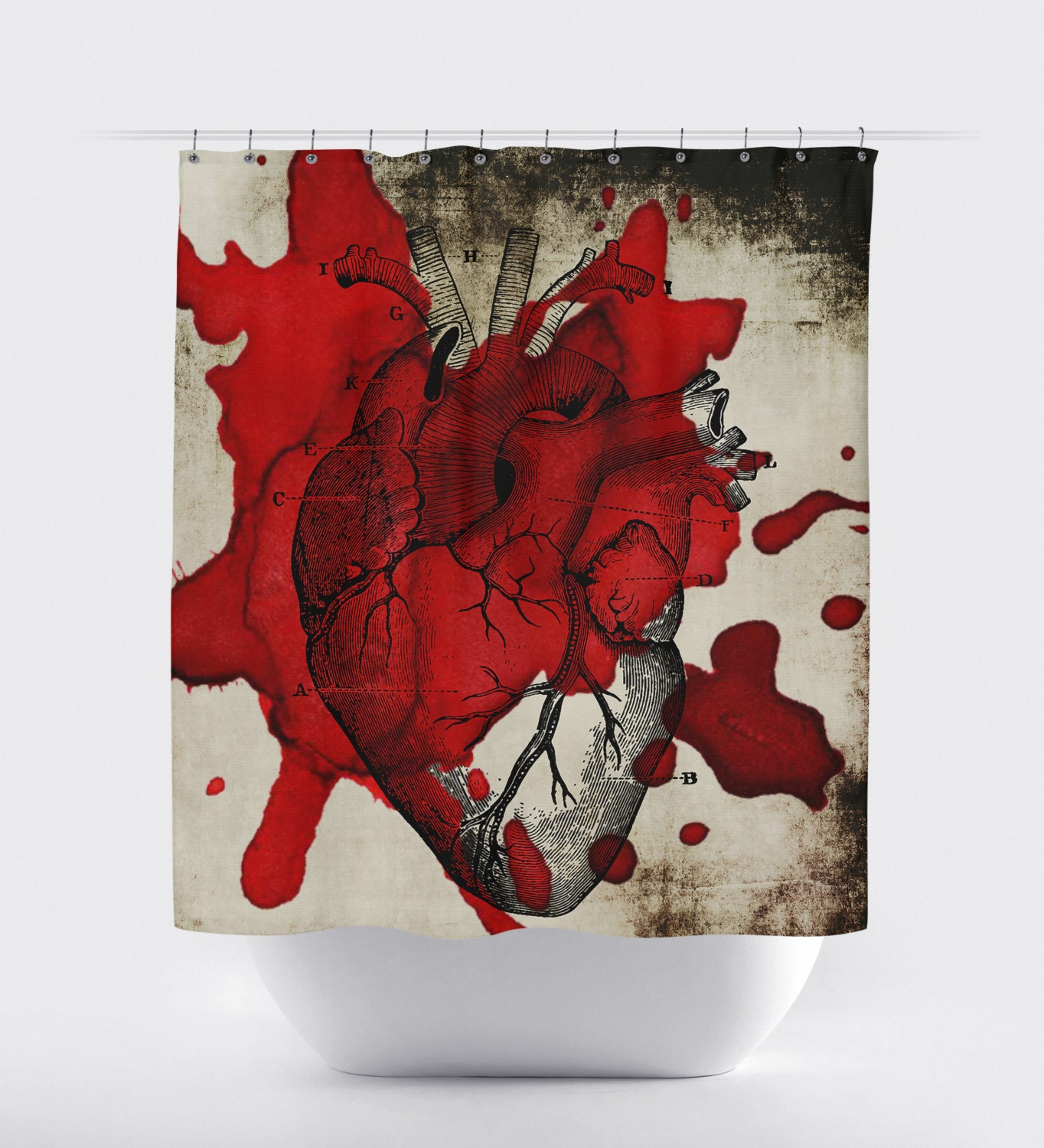 Halloween Shower Curtain Bloody Heart Made In The Usa 12