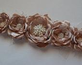 Bridal Sash - Five Flower Line Sash - Solid Champagne - Champagne Sash, Fabric Flowers, Vintage Style, Flower Sash, Ribbon Sash