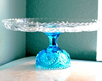 "14"" Aqua Blue Cake Stand / Glass Cake Stand / Glass Cake Plate Pedestal Cake Dish Platter / Cupcake Stand / Cupcake Pedestal / Sapphire Blue"