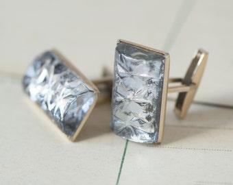 Vintage grey gold shades cufflinks, transparent rectangular cuff links, gift men accessory, Soviet fashion 70s