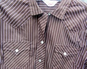Vintage H Bar C Western Shirt Brown & White  Pin Stripes Small