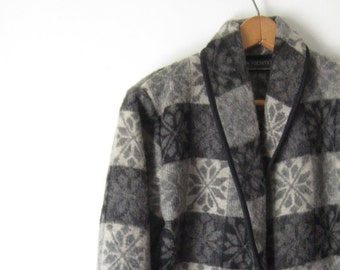 Vintage Cropped Jacket Wool Rustic Jacket Coat Fall Winter Fashions Grey Black Coat Gift for Her Under 40