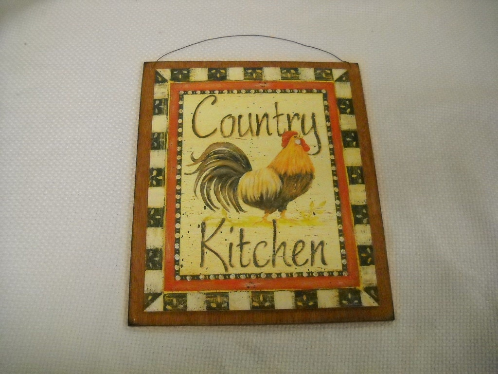 Rooster country kitchen wooden wall art by - Rooster wall decor kitchen ...