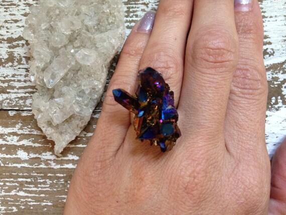 GALAXY / RAW Cobalt Blue Rainbow Titanium Flame Aura Druzy Quartz Crystal Gemstone Statement Ring - Summer, Boho, Gypsy, Festival, Fashion