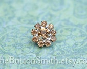 Rhinestone Buttons -Cleopatra- (11mm) RS-001 in Light Topaz - 5 piece set