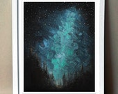 "Art Print - ""Northern Skies"" -  Print of Acrylic Painting - 8x10"