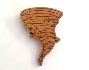 Sharknado Pin - Handmade - Lasercut