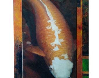 Vivid Koi Oil Painting