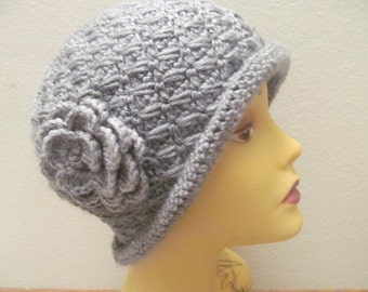Women Gray Cloche Hat With Gray Flower