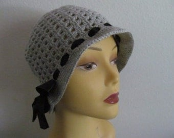 Gray Cotton Hat With Ribbon, Gray Cotton Cloche Hat, Usa Seller