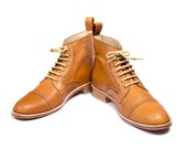 Unisex light brown leather bespoke oxford boots FREE WORLDWIDE SHIPPING
