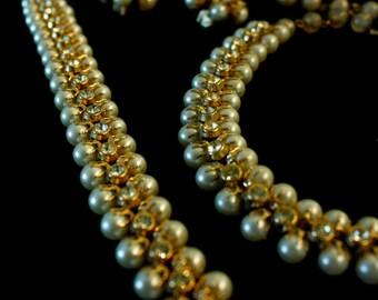 Pearl & Rhinestone Parure, Classic Look, Necklace, Bracelet, Earrings