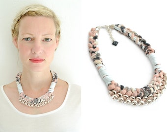 Marble Statement Necklace,Crochet Necklace, Chunky Tribal Necklace, Fabric Necklace, Rose and Ice Blue, Silver Plated Chain
