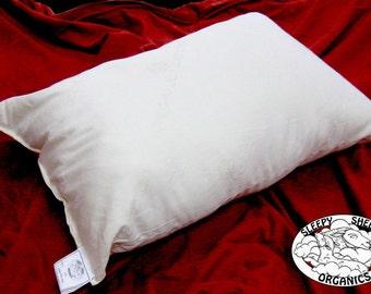 Organic Cotton Pillow, Queen Size, handmade, in an organic cotton shell