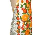 Metro Retro Orange Bold Floral HANDMADE Vintage Tea Towel Apron - Birthday  Christmas Gift Idea . OOAK Upcycled