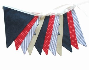 Boys Star Denim Blue, Red & White Flag Bunting. Party, Shop, Banner Decoration or Boys Bedroom Pennant . GIFT IDEA