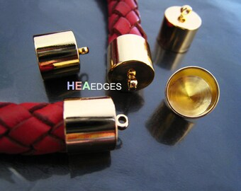 Finding - 50 pcs Gold Leather Cord Ends Cap with Loop For Round Leathers 14mm x 11mm ( inside 10mm Diameter )