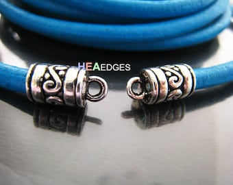 Finding - 20 pcs Silver Round Tone Leather Cord Ends Cap with Loop For Round Leathers 13mm x 7mm ( inside 5mm diameter )