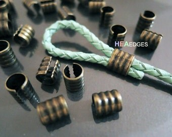 Crimp Ends - 6pcs Finding Antique Brass Smallest Adjustable Crimp Beads Round Tone Tube Curve Fold Over End Cap without Loop 7.5mm x 6mm