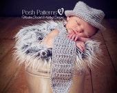 Crochet PATTERN - Crochet Hat Pattern - Crochet Tie Pattern - Baby Neck Tie And Fedora Hat Crochet Pattern - PDF 118 - Photo Prop Pattern
