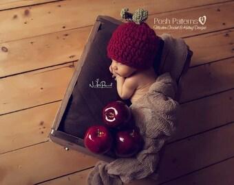 Crochet PATTERN - Crochet Pattern Baby - Apple Hat Pattern - Crochet Hat Pattern - Crochet Patterns for Boys - Includes 3 Sizes - PDF 188