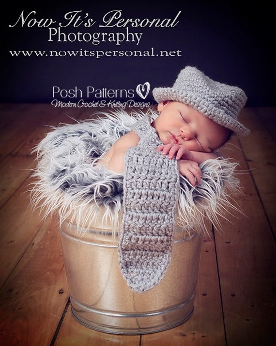 Crochet PATTERN - Crochet Hat Pattern - Crochet Tie Pattern - Baby Neck Tie And Fedora Hat Crochet Pattern - PDF 118 - Photo Prop Pattern