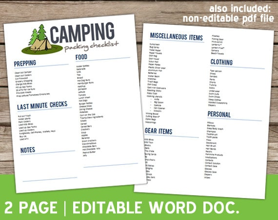 editable camping checklist for summer word document. Black Bedroom Furniture Sets. Home Design Ideas