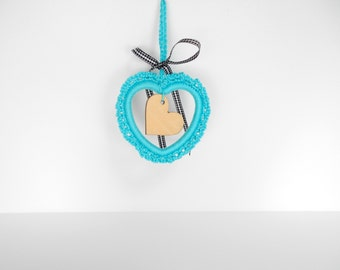 Handmade turquoise crochet heart, bright aquamarine crocheted home decor, Valentine's day gift, crocheted door hanger READY TO SHIP