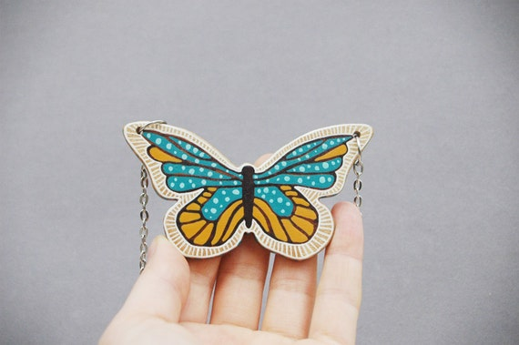 Butterfly Necklace Butterfly Pendant Blue and Yellow Animal Necklace Hand Painted on Wood Art Pendant
