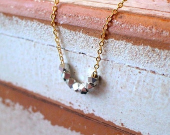 20% OFF - Elegant Tiny Silver Tone Cube Polygon Nuggets on gold necklace,wedding,perfect gift idea