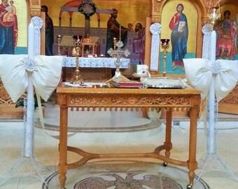ivory silk bow wedding lambathes / candles / lambades / lambada