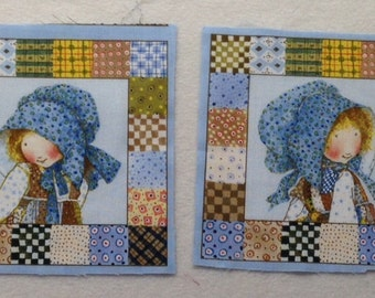 8 Holly Hobbie Quilt Blocks - OOP