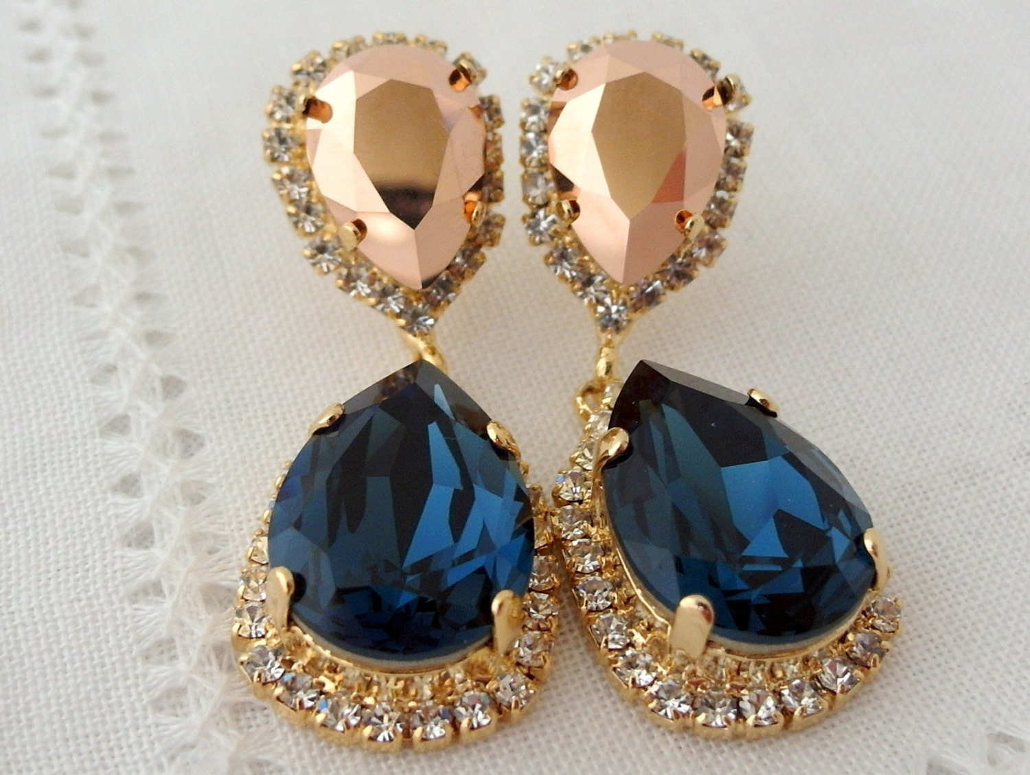 Navy blue and rose gold Chandelier earrings Drop earrings