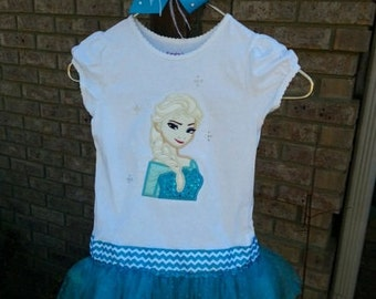 Elsa from Frozen  inspired Tutu Shirt with Matching Bow