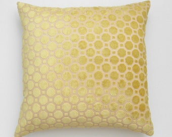 Yellow velvet geometric decorative pillow cover