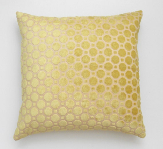 SALE Yellow velvet geometric decorative pillow cover