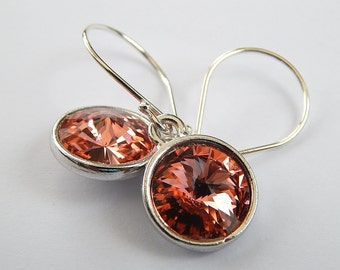 Peach Earrings. Swarovski Crystal Rivoli Earrings, Sterling Silver Dangle Earrings, Wedding Jewelry