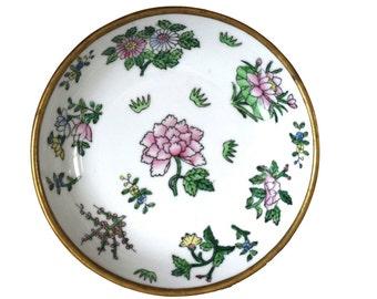 Vintage Brass Encased Ceramic White Floral Dish