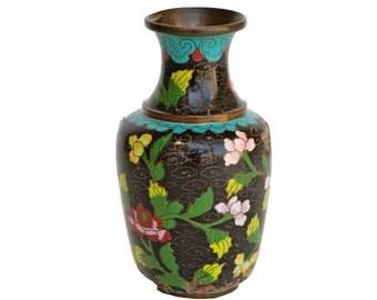 Vintage Small Black Cloisonne Vase