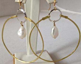 Big Hoop and Pearl Earrings