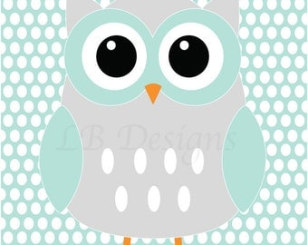 Woodland Nursery Print, Gender Neutral Nursery Decor, Aqua and Gray Nursery, Owl Nursery Art, Gender Neutral Nursery, Woodland Bedroom Decor