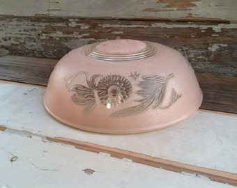 Antique Victorian Pink Glass Ceiling Shade - Fixture Replacement Globe, Antique Frosted Pink Romantic Lighting, French Lighting, Deco Globe