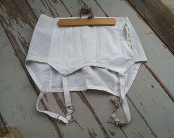 Vintage White Girdle - White Corset with Tags, Never Used Garter / Girdle in Bright White, Burlesque Corset, Victorian Lingerie or Petticoat