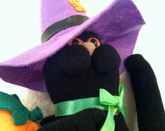 Black Plush Halloween Cat